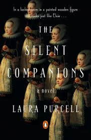 book cover for Laura Purcell's The Silent Companions featuring a repeated image of an old painting of a 17th century girl holding an apple. Creepy.