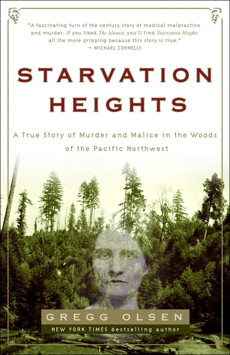 cover of Starvation Heights, featuring a photo of a creepy, turn-of-the-century lady superimposed on a deceptively idyllic mountain scene