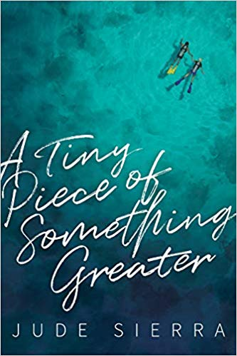 cover of A Tiny Piece of Something Greater, featuring a birds-eye view of 2 guys scubadiving thru crystal blue water, holding hands