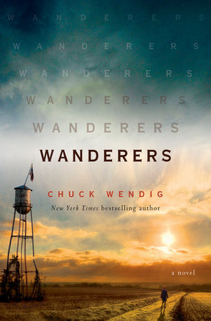 cover of Wanderers, featuring a lonely country road at sunset, with a rustic water tower and a silhouetted person walking