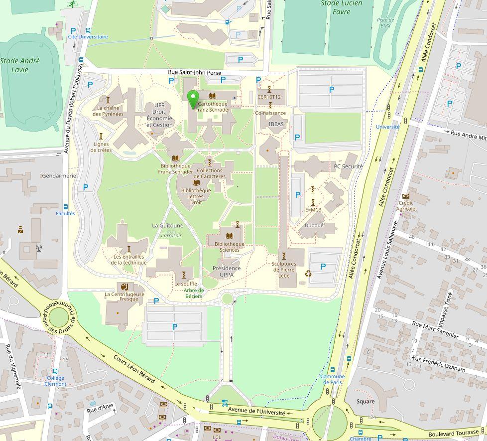 Plan avec pointage sur la partie ouest du bâtiment des lettres