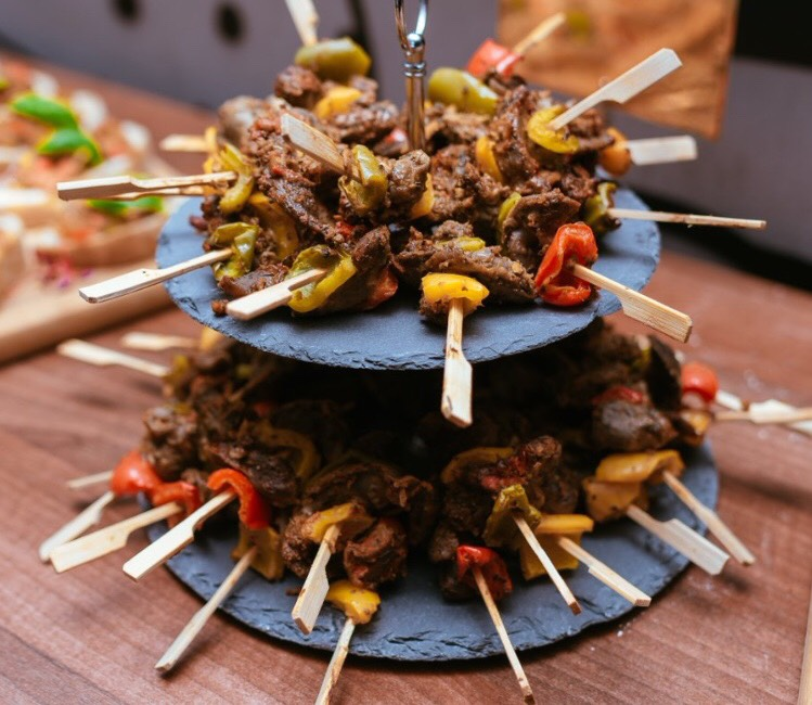 West African skewer meat canape