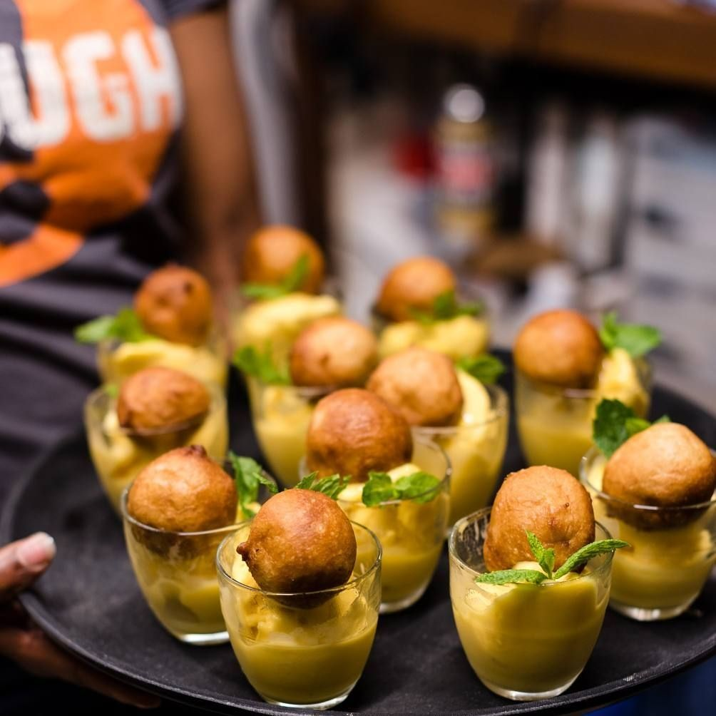 Puff Puff - Nigerian fried dough snack served with mango sorbet