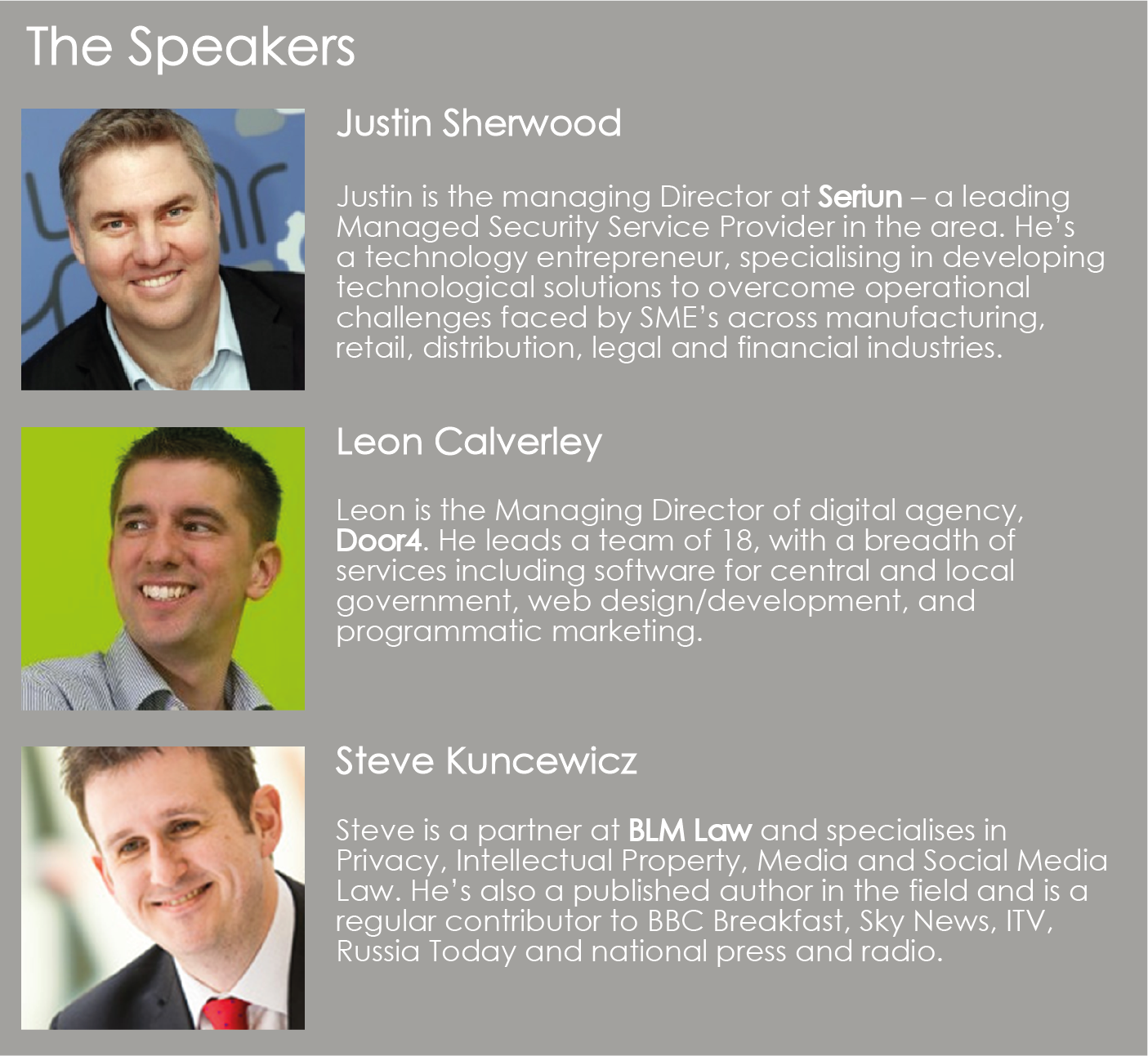 The speakers overview