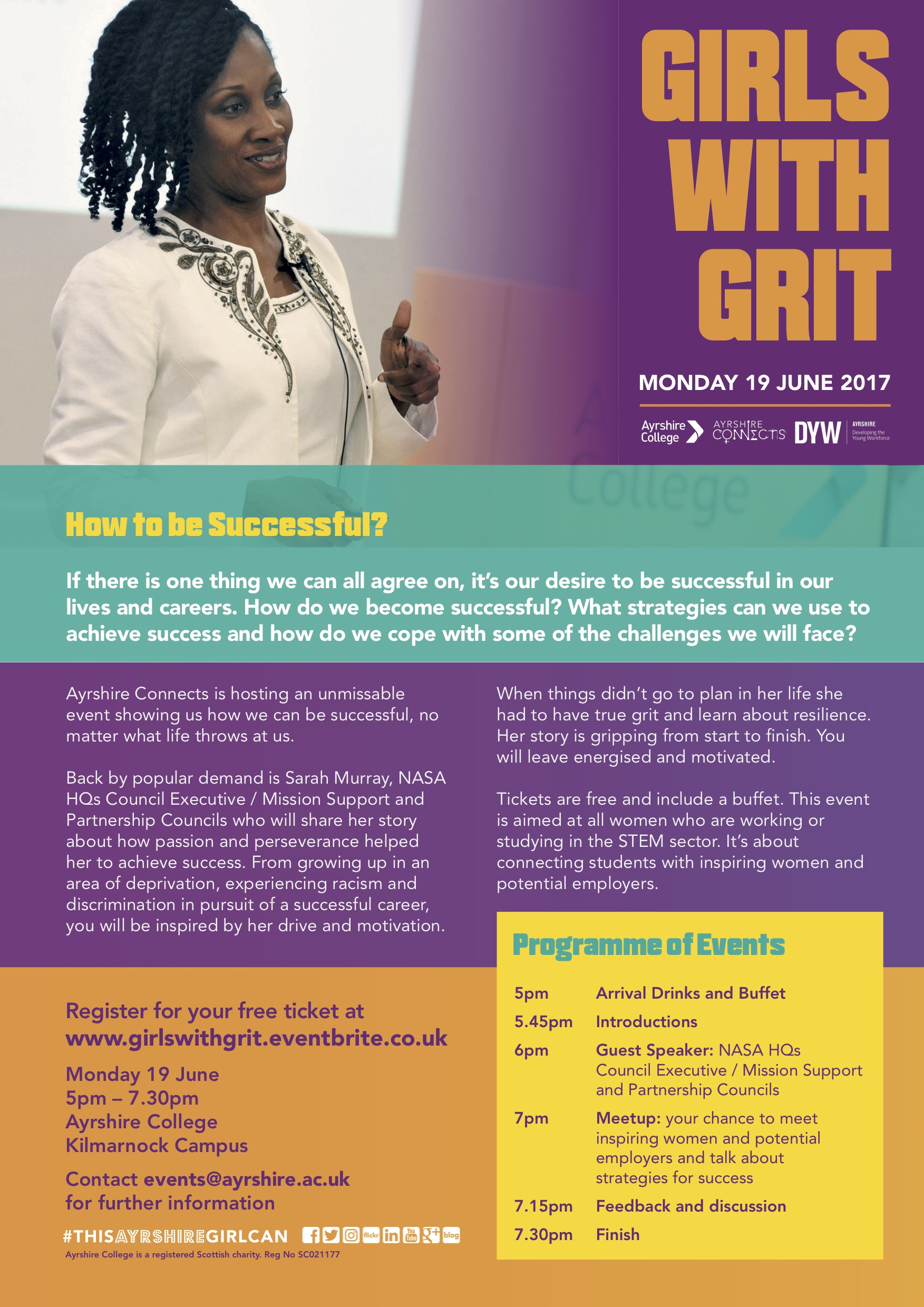girls with grit event poster information