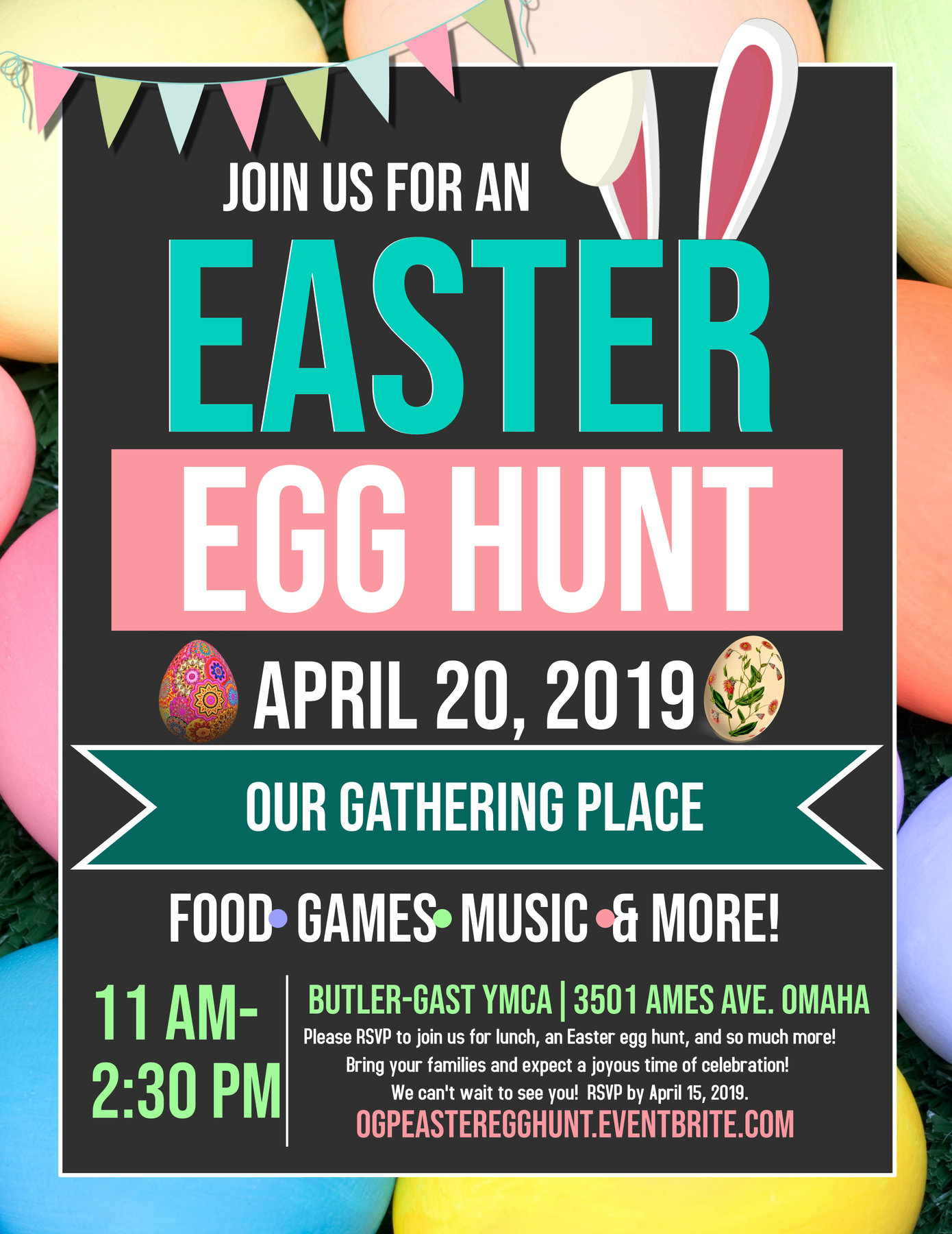 Our Gathering Place is pleased to announce our first Easter Egg Hunt and Lunch. Join us for food, games, family photos, music, and more! Our Gathering Place is a mobile community meal for families with special needs children, teens and young adults. Come experience a judgment-free zone where all are valued and celebrated!   Suggested donation:  $10 for a family of 2, $20 for a family of 4 or more. No one will be turned away. All donations will be taken at the check-in table. Please RSVP by April 15th. We look forward to celebrating with you!