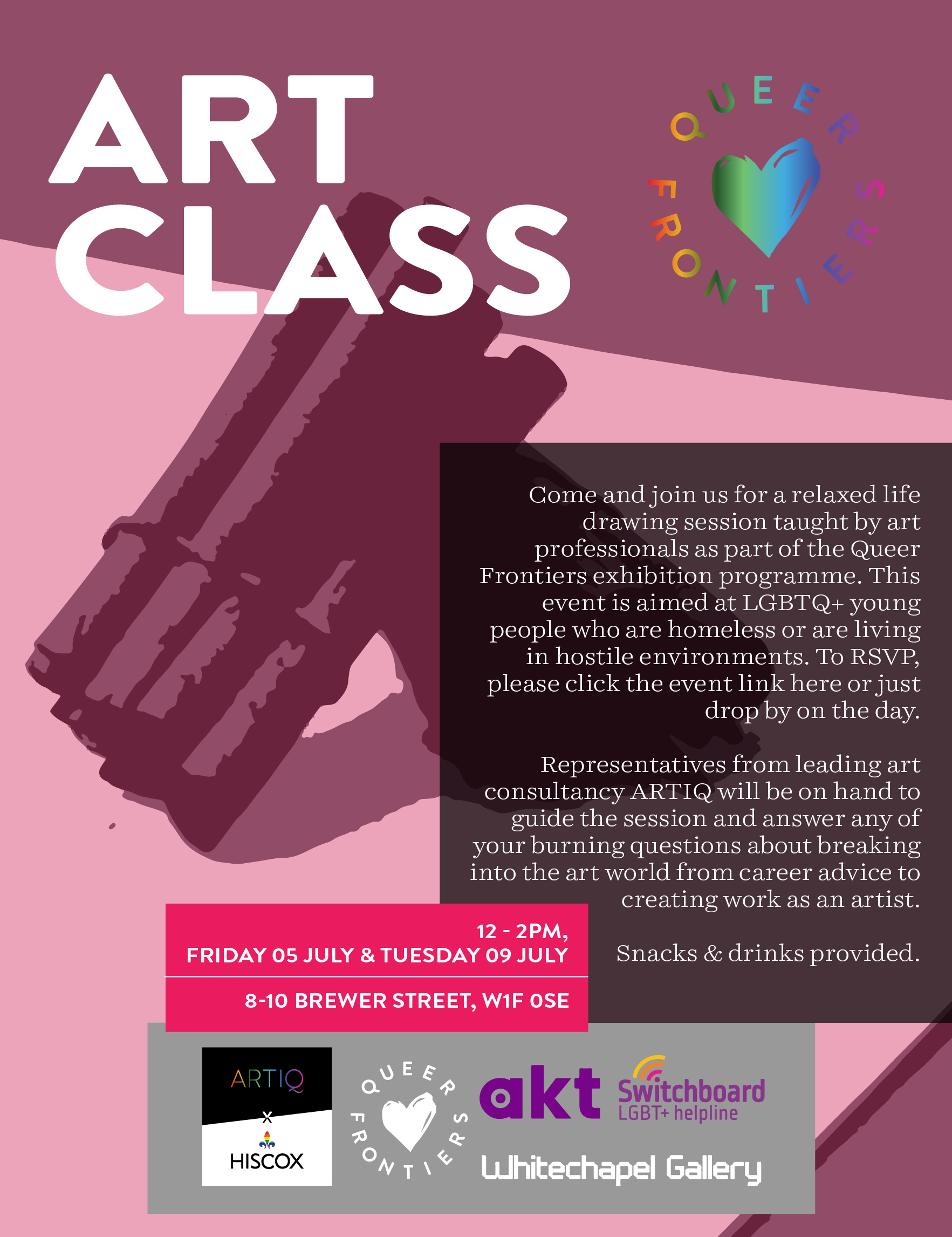 Poster for Queer Frontiers Art Class