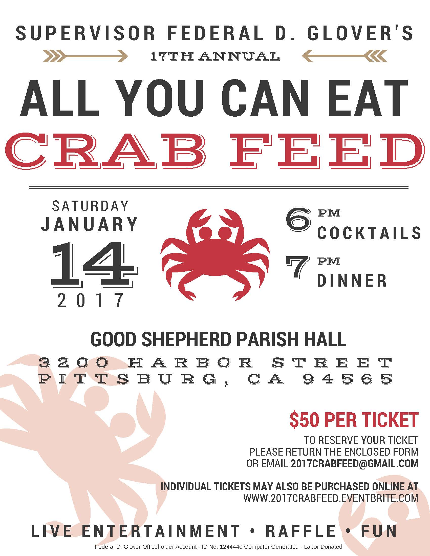 supervisor federal glover s 17th annual crab feed tickets sat description