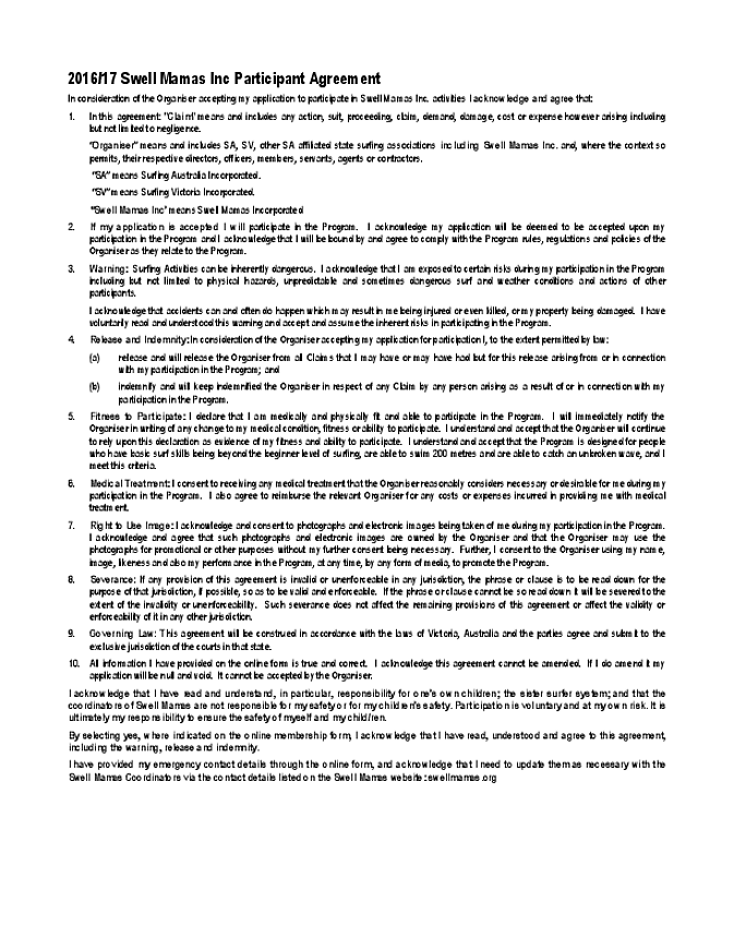 Participant Agreement