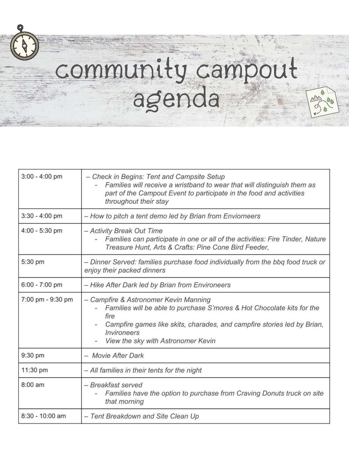 Campout Agenda