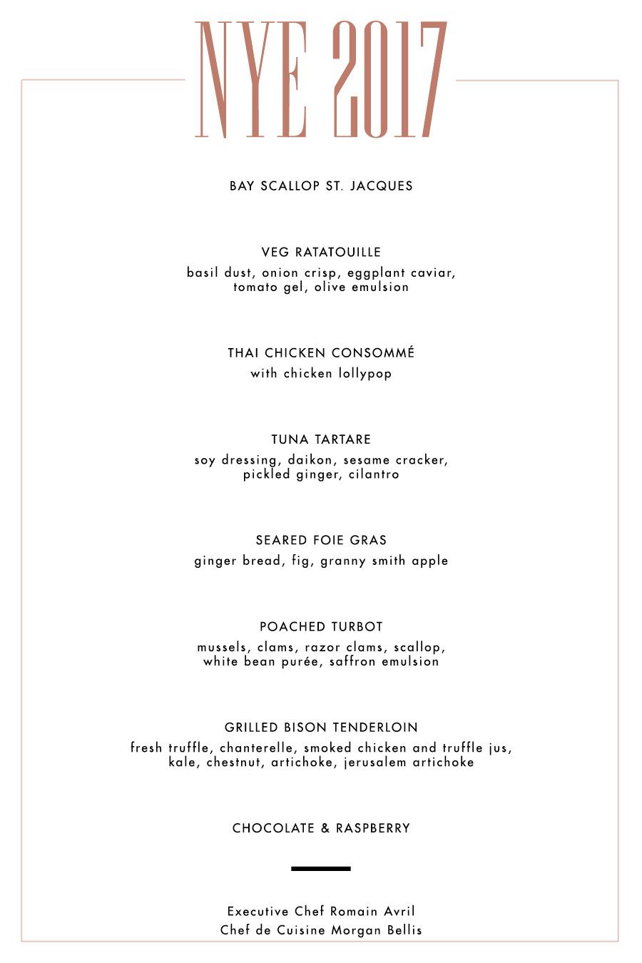 10 course Dinner Menu