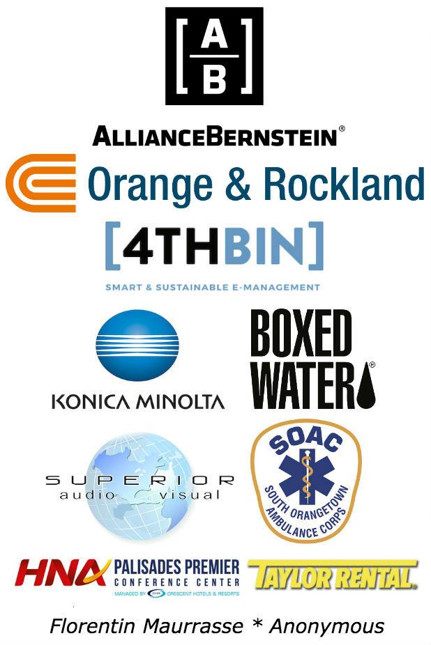 Alliance Bernstein, Orange & Rockland, 4th Bin, Konica Minolta, Boxed water, superior AV, South Orangetown Ambulance, HNA conference center, taylor rental, florentin maurrasse, and anonymous