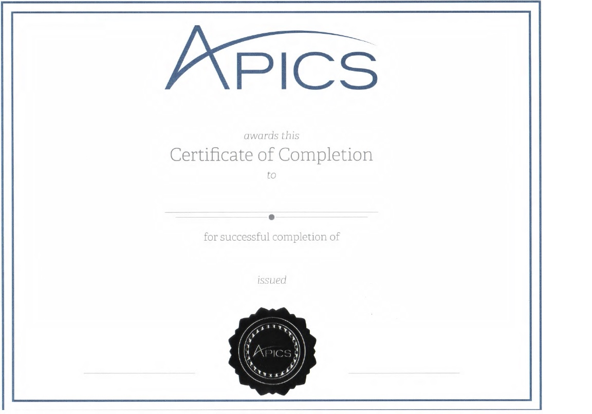 APICS Certificate of Completion for Six Sigma Black Belt