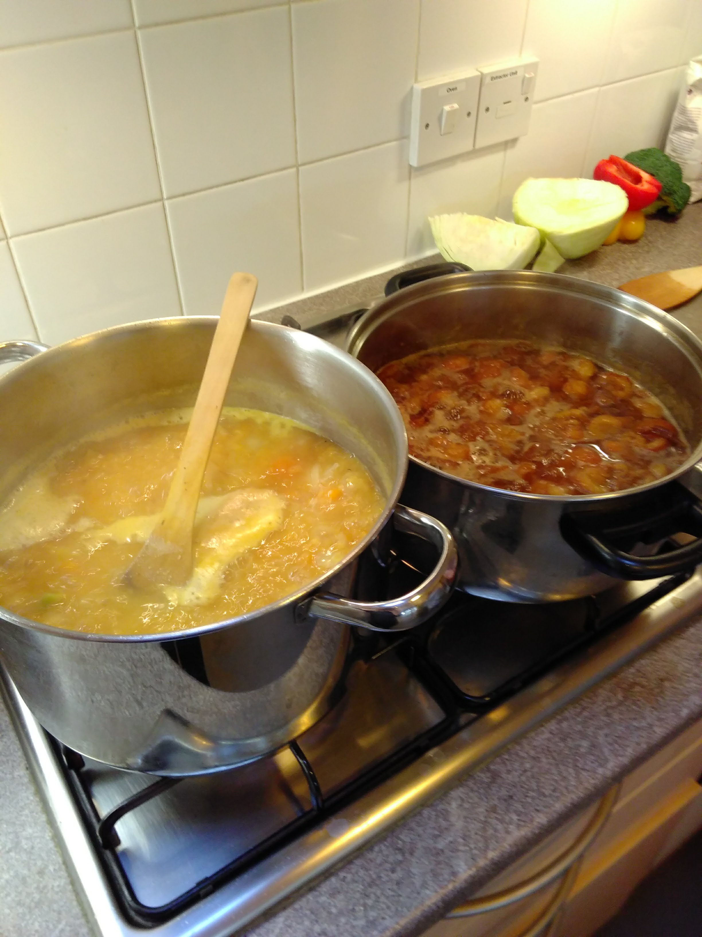 two pots of soup