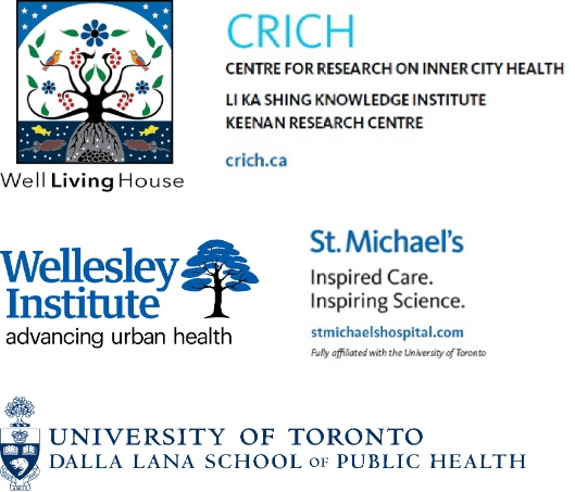 Logos: Well Living House, CRICH, Wellesley Institute, St. Michael's Hospital, Dalla Lana School of Public Health