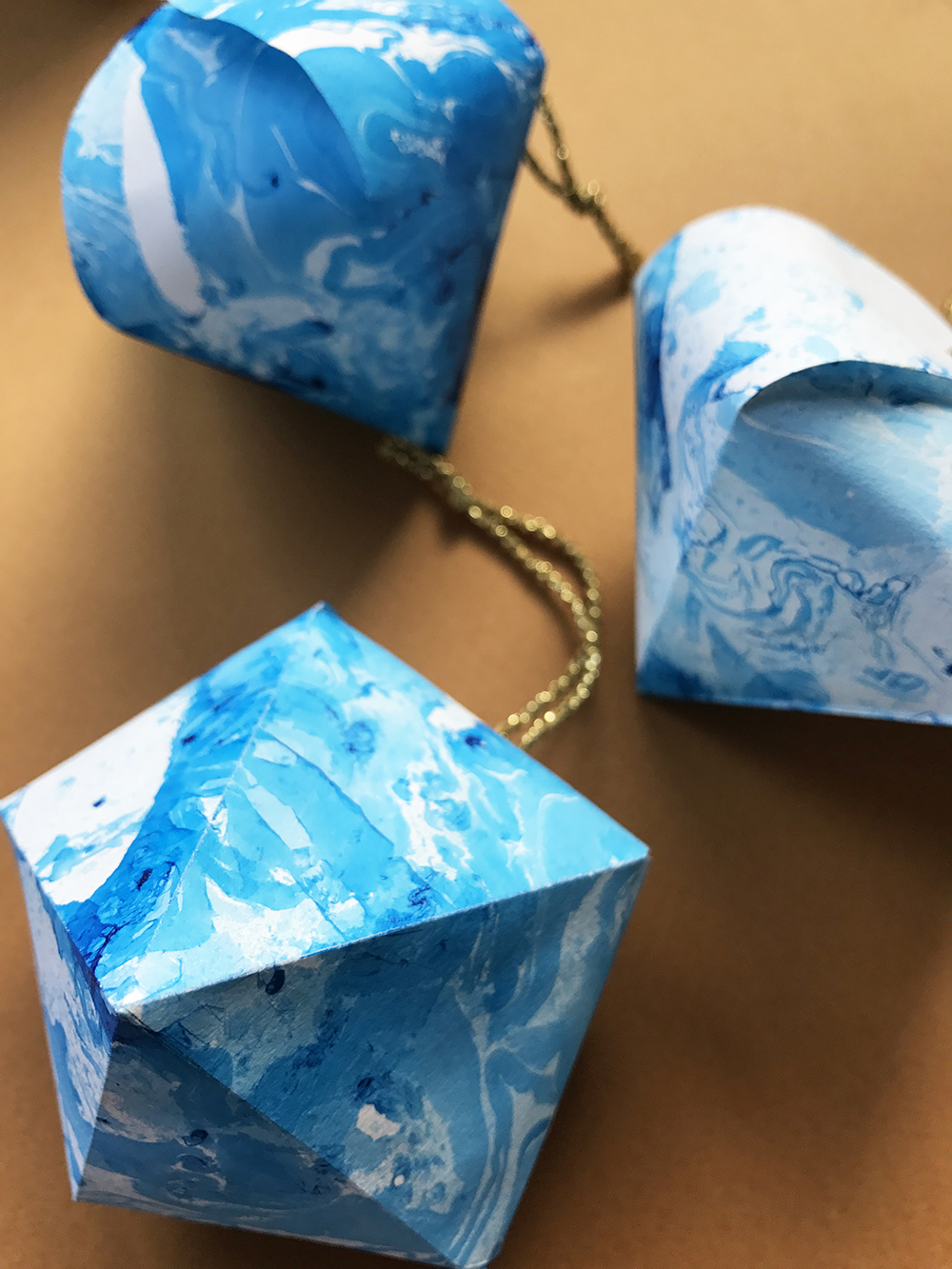 Paper Marble Christmas Ornaments