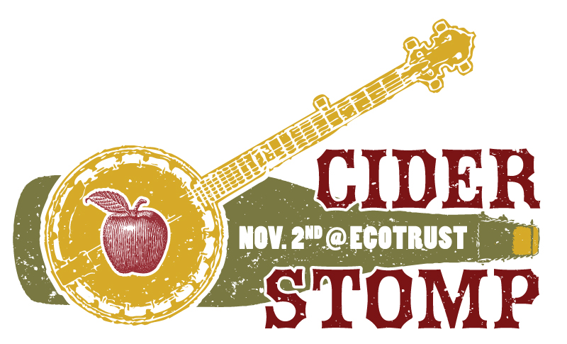 cider stomp logo - banjo and cider bottle