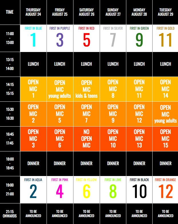 Nordegg Schedule 2017