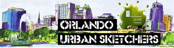 Orlando Urban Sketchers Banner, includes a sketch of Downtown Orlando as seen from Lake Eola