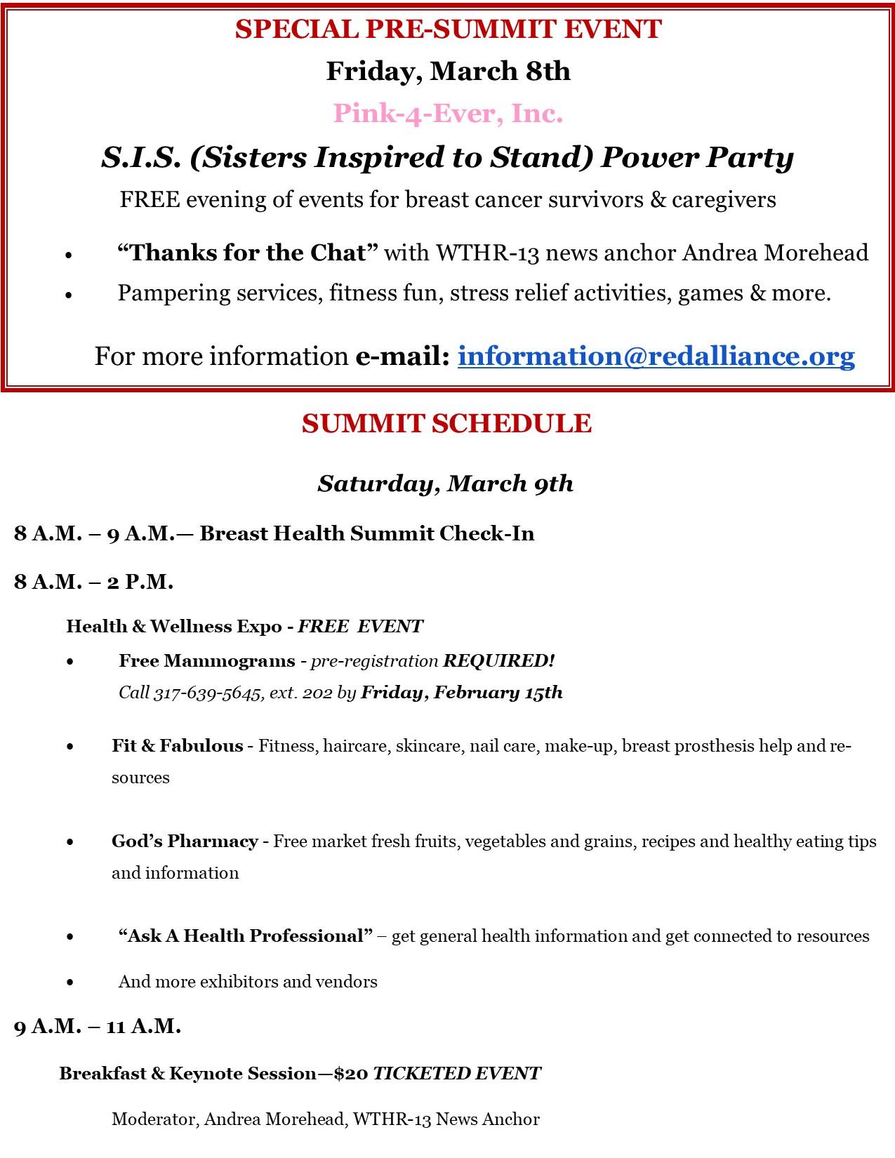 1st Summit Schedule