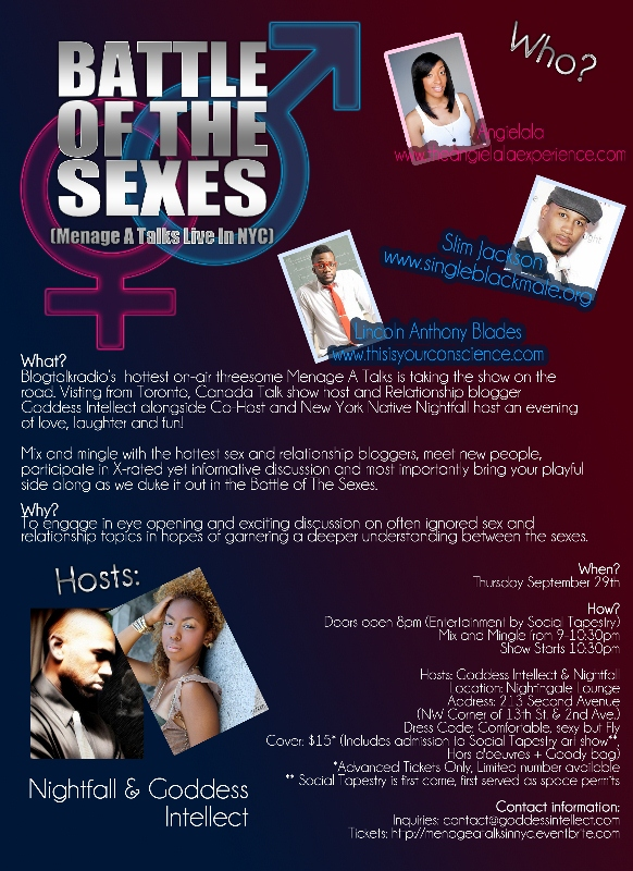 Battle of The Sexes, Menage A Talks Live in NYC