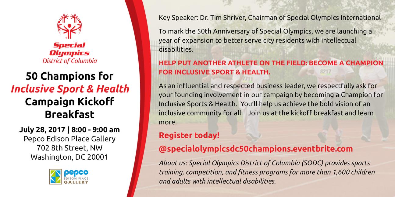 Champions for Inclusive Sport & Health Kickoff Invitation