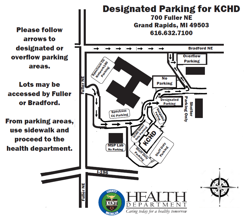 Parking map for Kent County Health Department