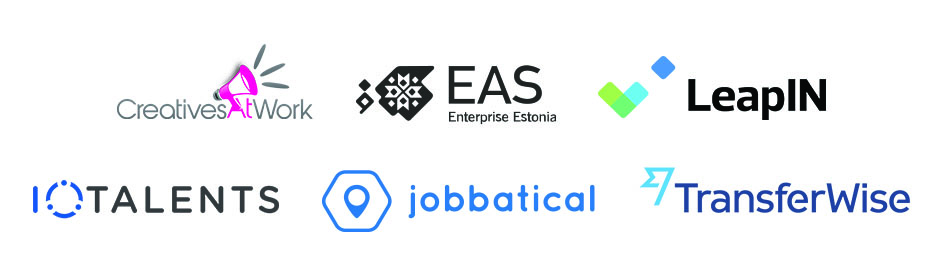 Logos of CreativesAtWork, LeapIn, Jobbatical, EAS, TRANSFERWISE and  ioTalents