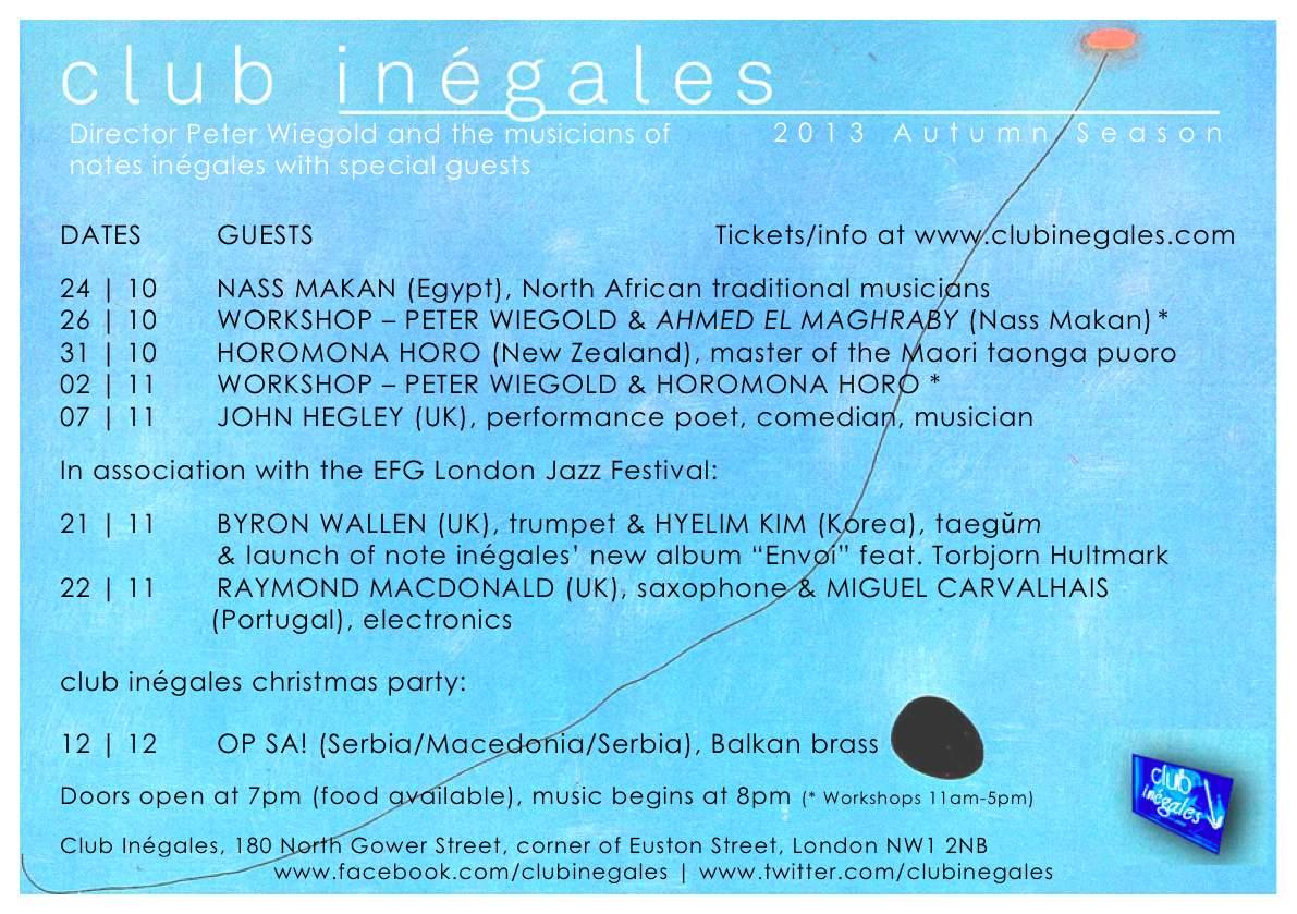 Club Inegales Autumn Season Flyer