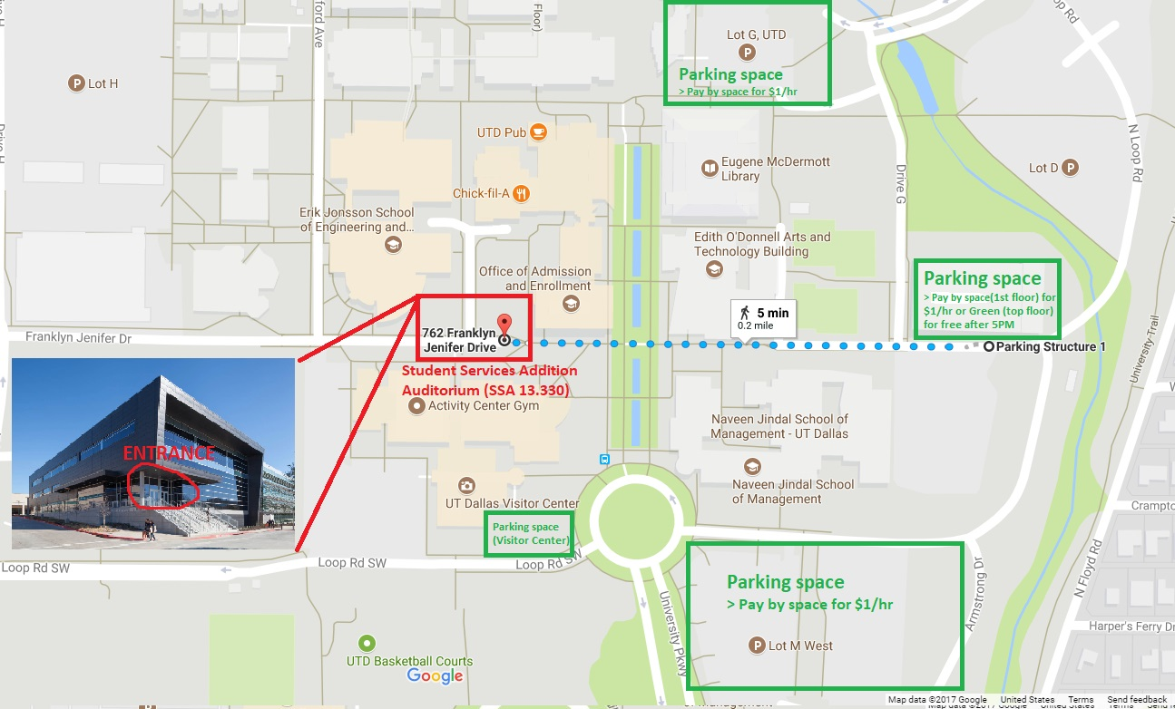 Map of the UT Dallas Campus with venue highlighted as well as parking spots