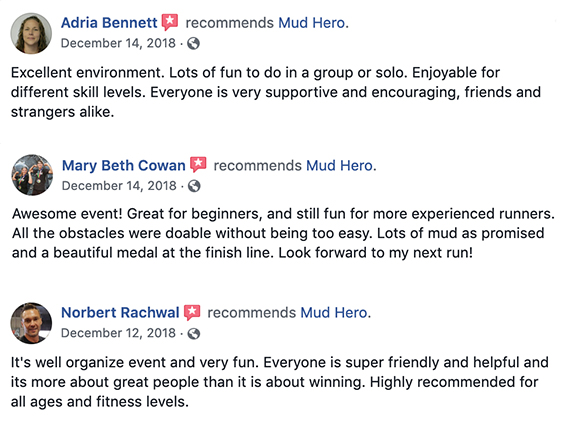 What are People Saying about Mud Hero - Facebook Review Reviews