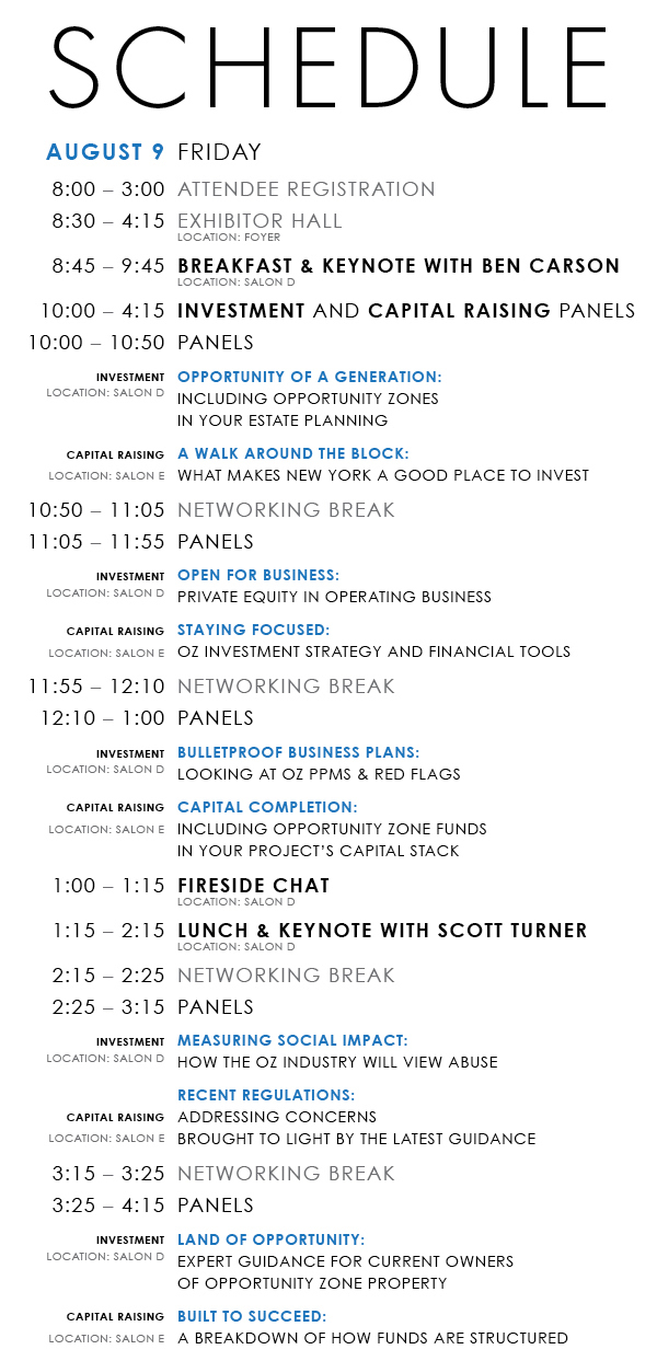 Opportunity Zone Expo New York Schedule