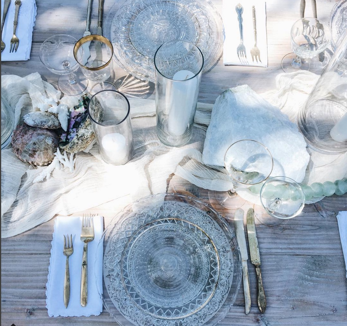 seaside tablescape decor by crosby + jon