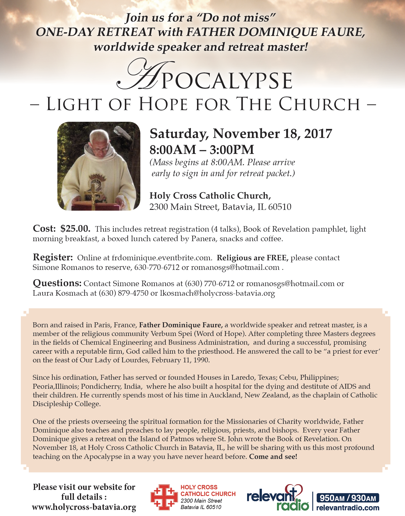 Fr. Dominique Faure One-Day Retreat Flyer