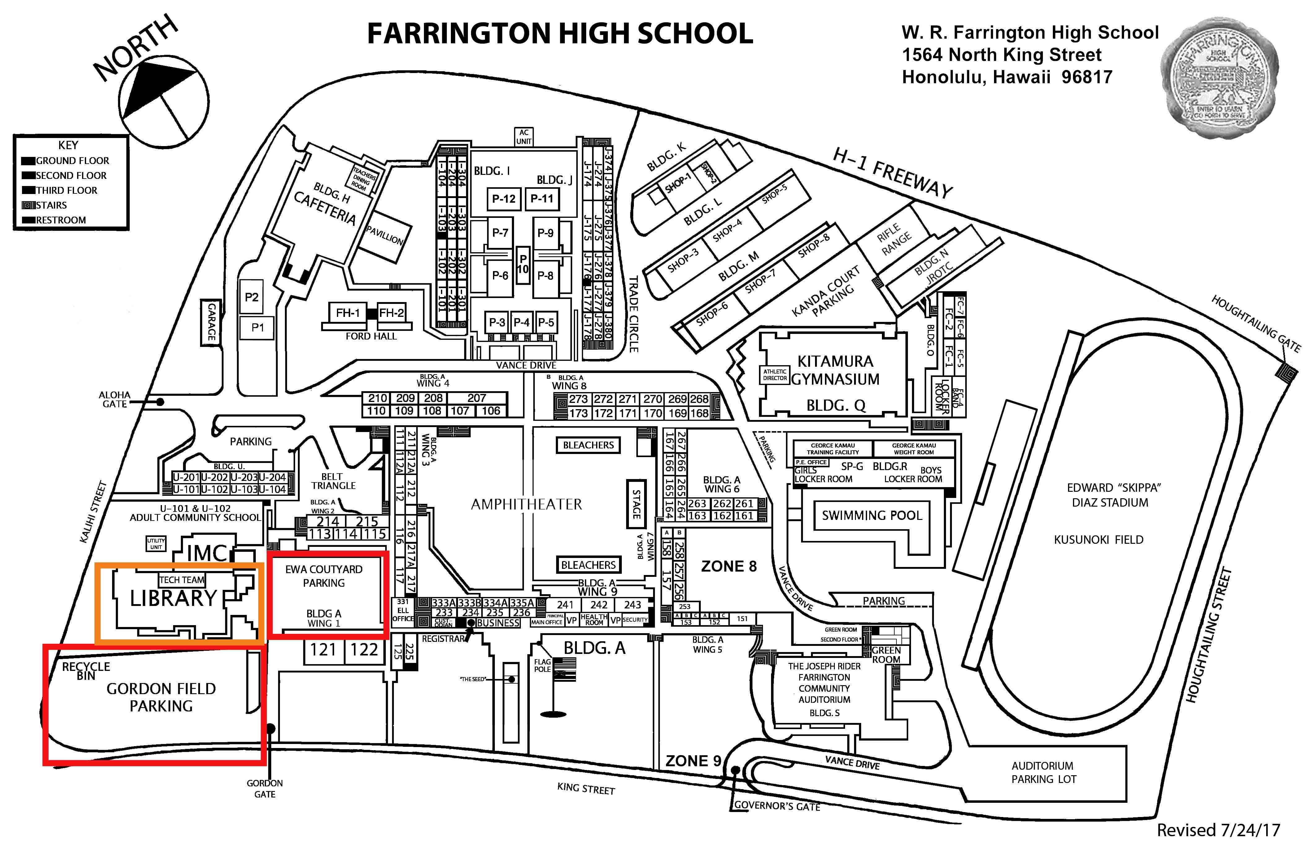 map of Farrington parking