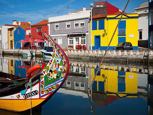 Some of the colourful moliceiros on the Aveiro Ria