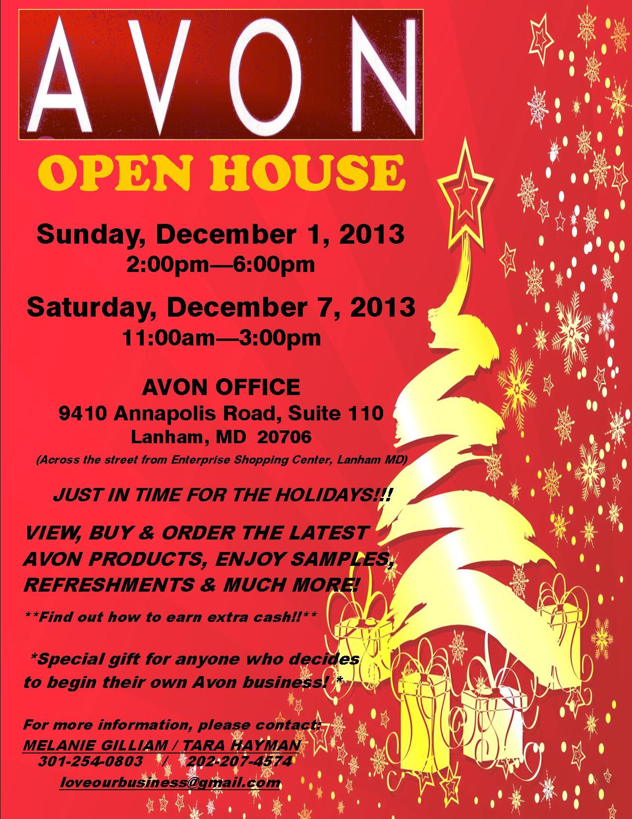 Avon Open House Registration, Sun, Dec 1, 2013 At 2:00 PM