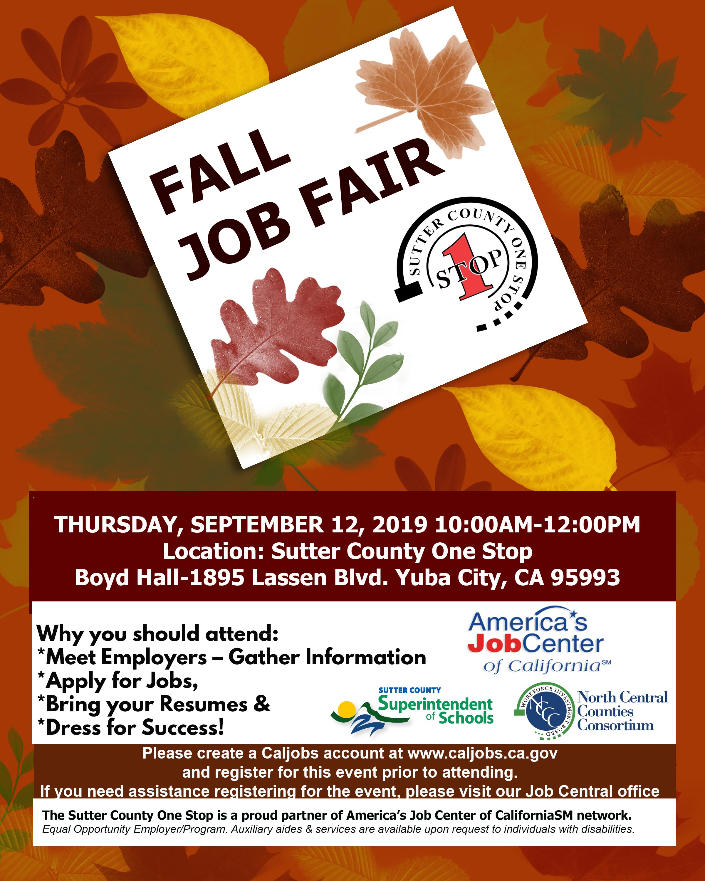 Sutter County One Stop Fall Job Fair Tickets, Thu, Sep 12, 2019 at