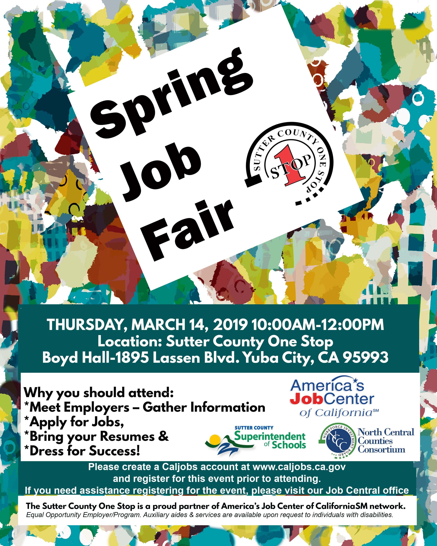 Spring Job Fair Sutter County One Stop 2019 Boyd Hall Yuba City, ca