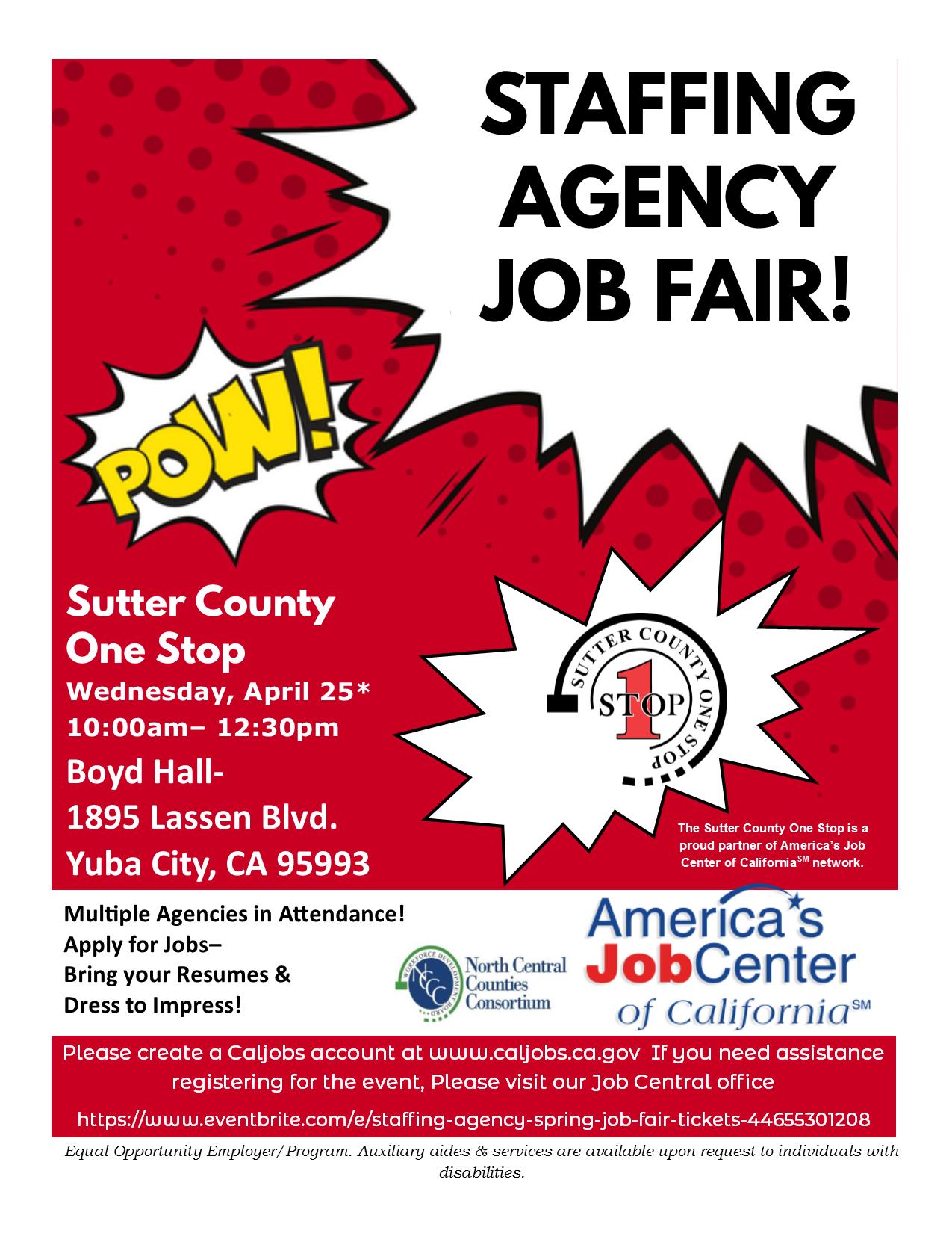 Staffing Agency Spring Job Fair | Yuba City, CA