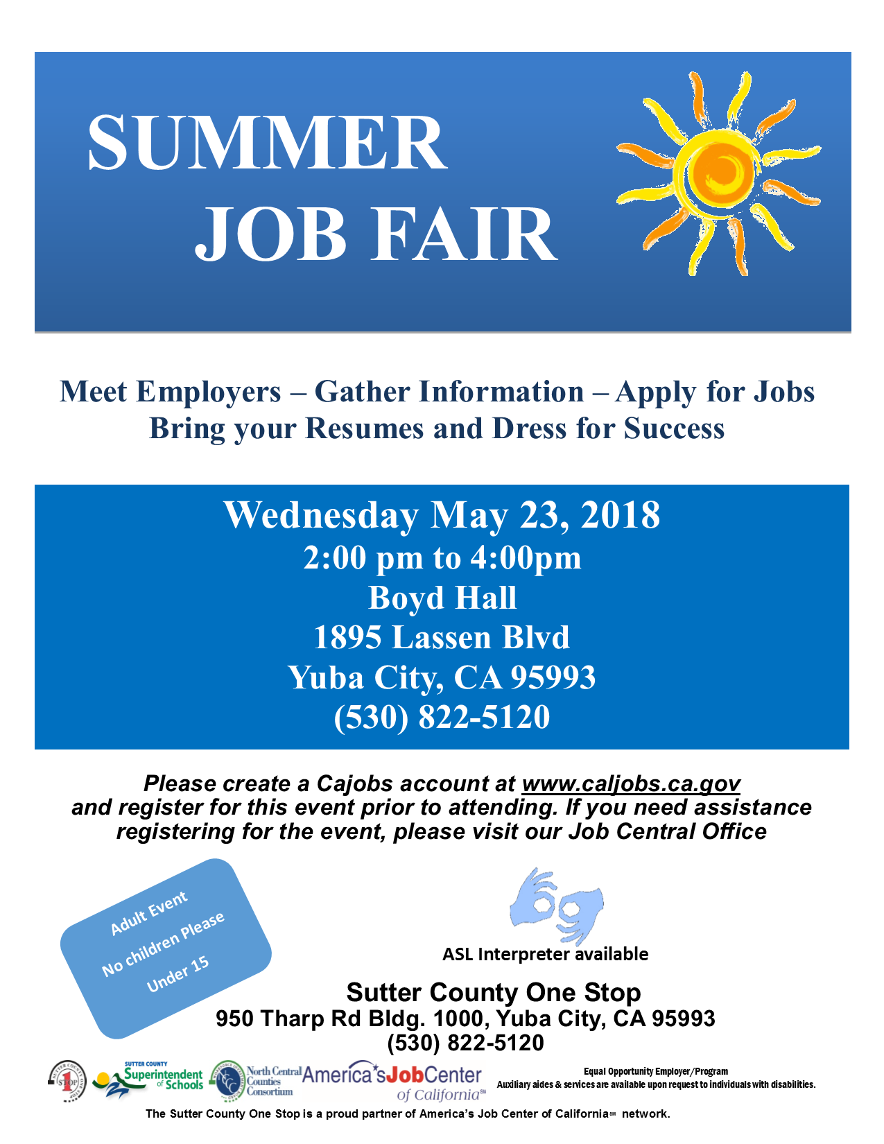 Summer Job Fair 5/23/2018 2:00pm-4:00pm
