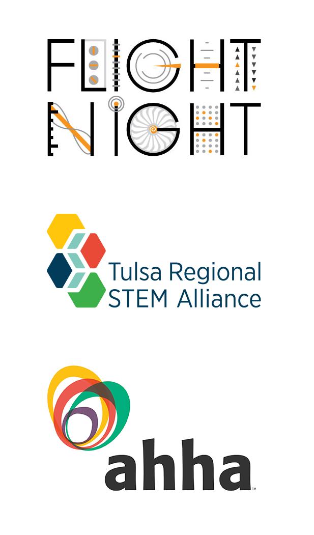 Flight Night, Tulsa Regional STEM Alliance, and ahha logos