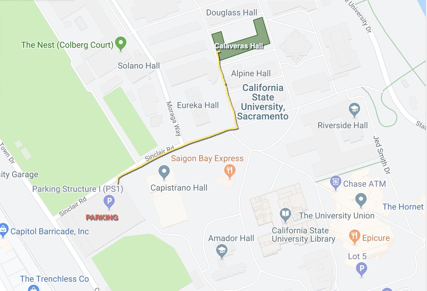 Map to Calaveras Hall