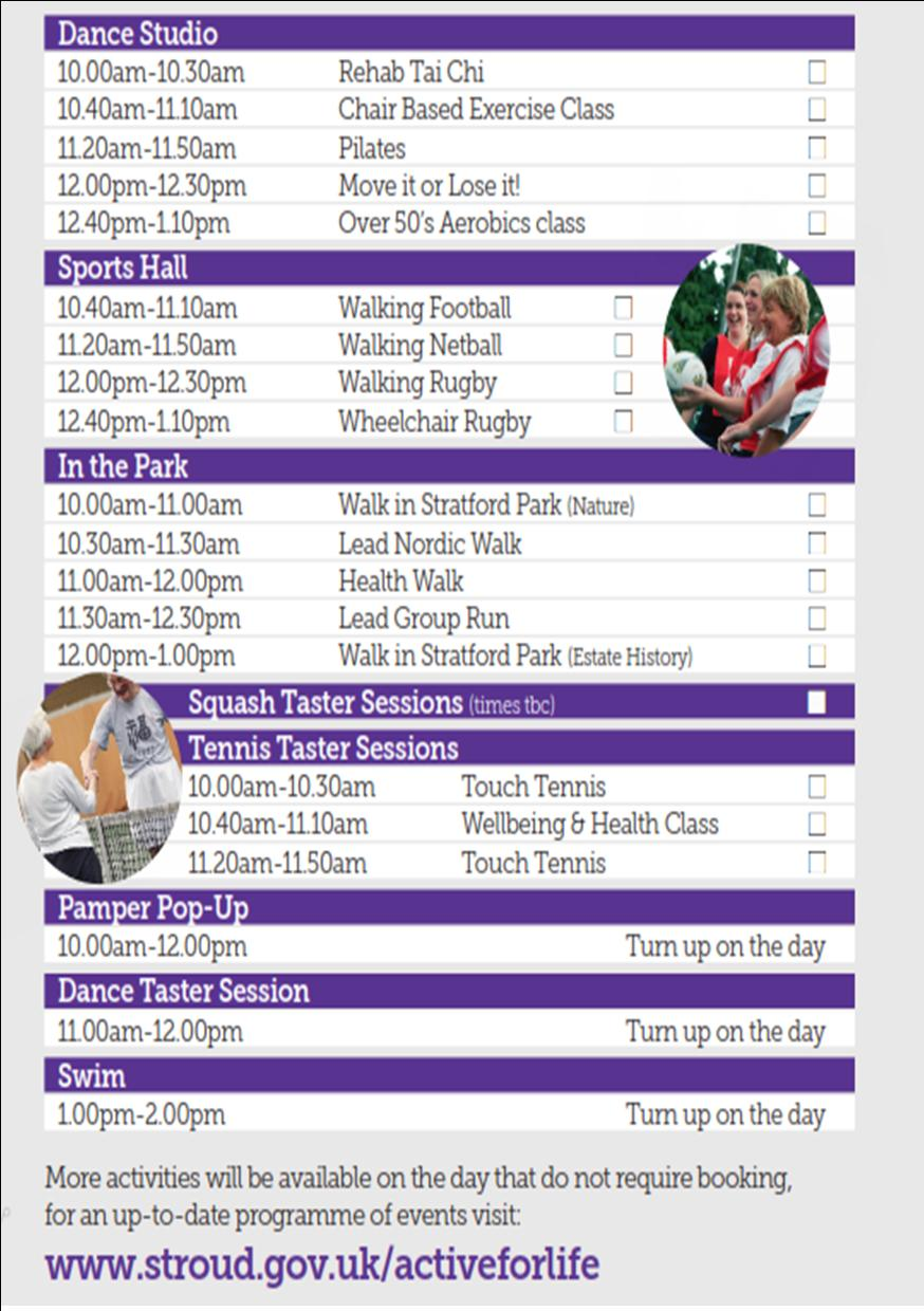 Taster Sessions Timetable