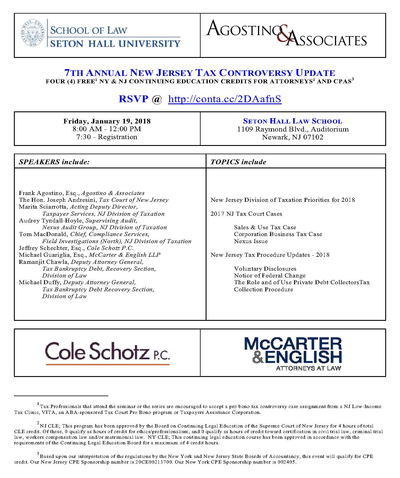 Seton Hall S 8th Annual New Jersey Tax Controversy Forum Tickets