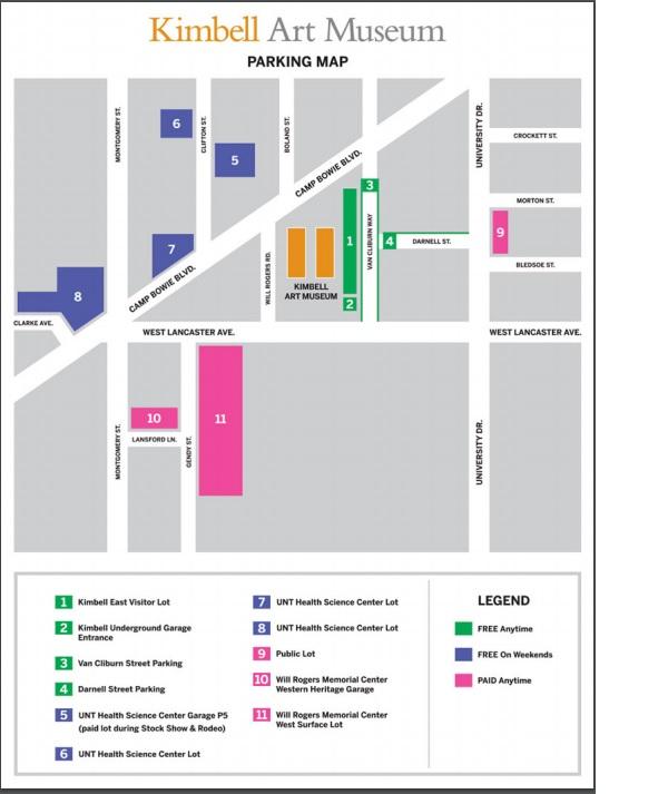 Kimbell Parking Map