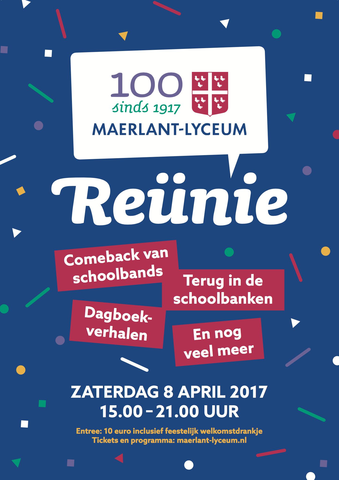 Poster Reünie 100 jaar Maerlant-Lyceum