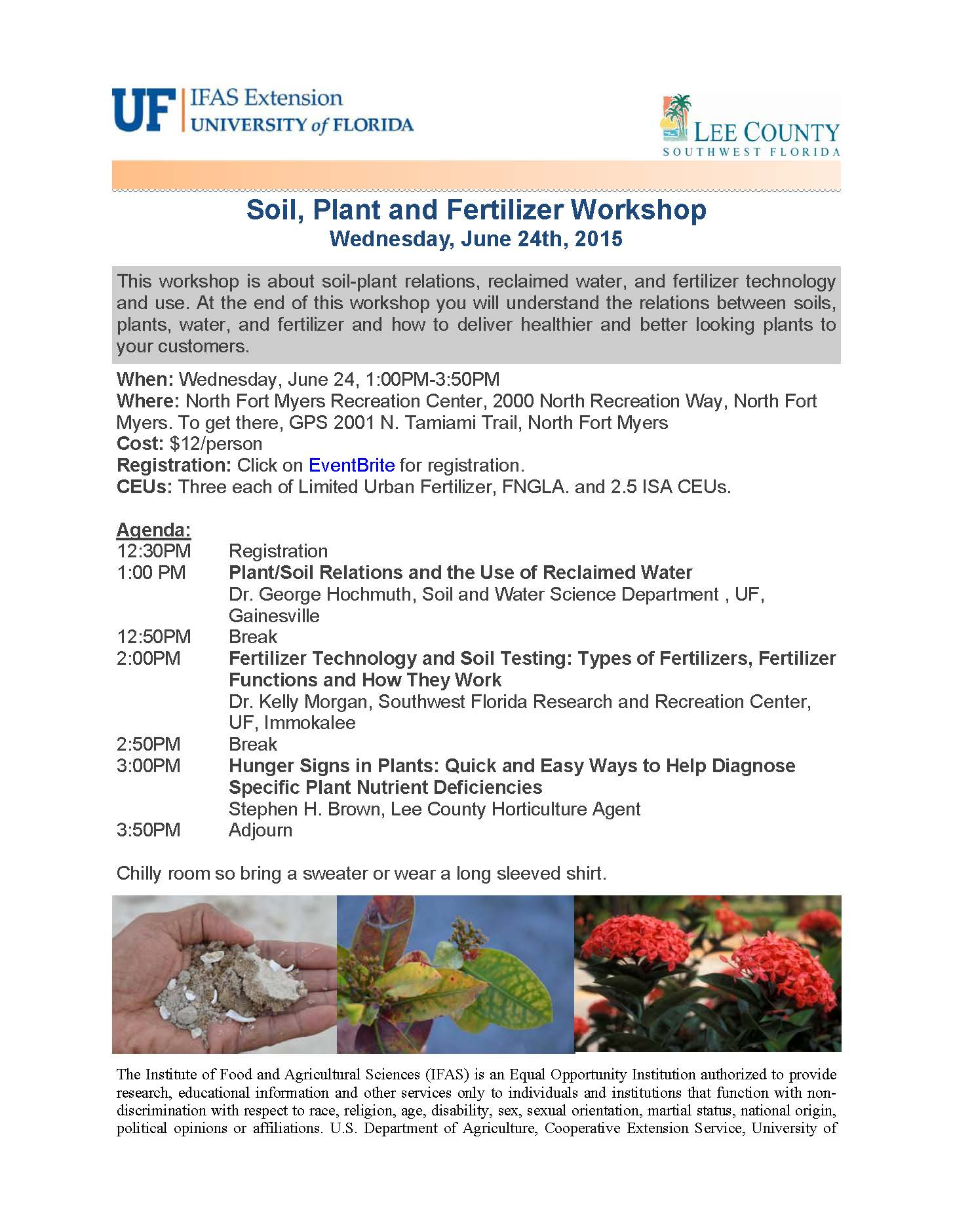 Soil plant and fertilizer workshop tickets wed jun 24 for Soil tour dates 2015