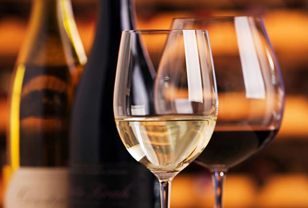 Wine bottles and glasses.