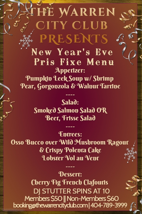 The Warren City Club New Year's Eve Menu 2017